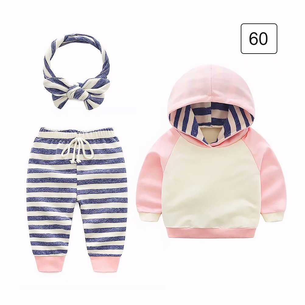 3Pcs Toddler Infant Baby Unisex Striped Hoodie Suit Tops+Pants+Headband Outfits Set