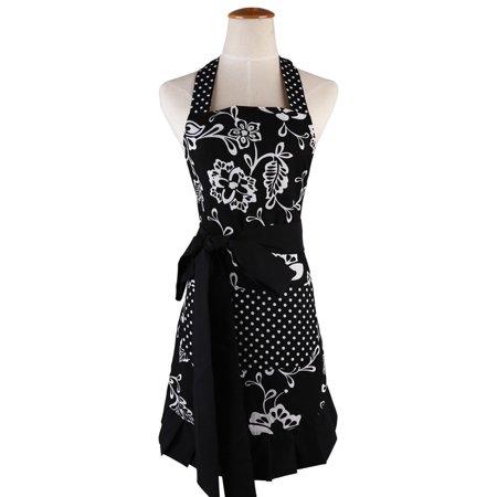 Novo Women's Adjustable Neck Strap & Waist Ties, Kitchen Apron Cotton Garden Apron Black with White Flowers for Cooking, Baking, Gardening, Crafting, BBQ ,Working,Harvest,Coffee Shop