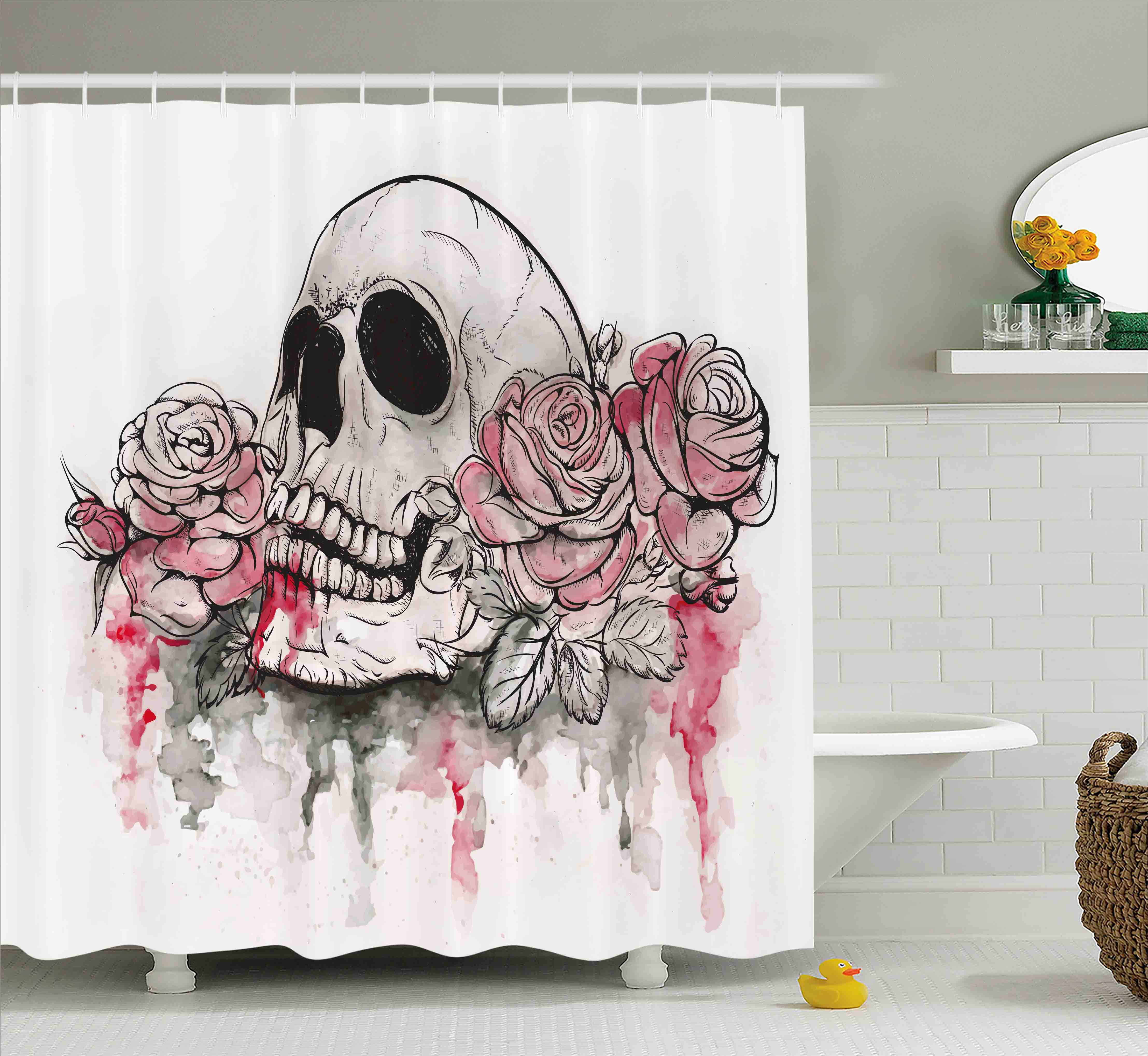 Day Of The Dead Decor Shower Curtain, Print of Skull Dead with Romantic Roses Celebration Day, Fabric Bathroom Set with Hooks, 69W X 84L Inches Extra Long, White Light Pink Black, by Ambesonne