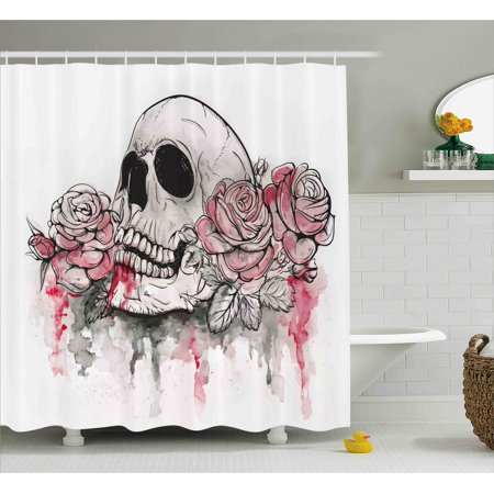 Day Of The Dead Shower Curtain Print Skull With Romantic Roses Celebration