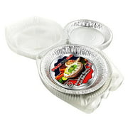 """Pactogo 10"""" (Actual Top-Out 9-5/8 Inches - Top-In 8-3/4 Inches) Aluminum Foil Pie Pan - Disposable Baking Tin Plates with Clear Plastic Hinged Containers (Pack of 200 Sets)"""