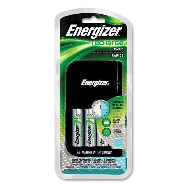 Energizer 15-Minute Charger - 110 V AC, 12 V DC Input