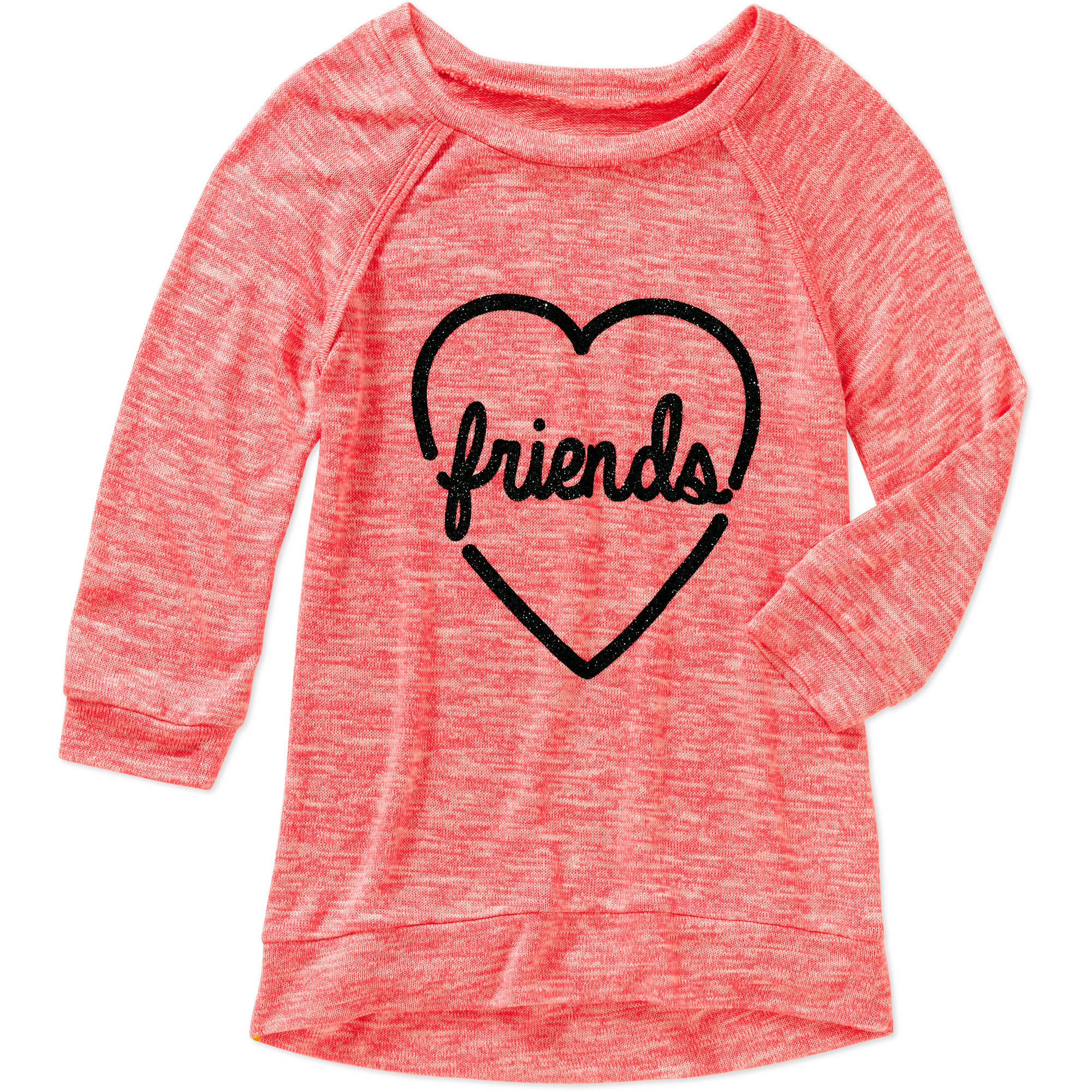 Miss Chievous Girls' Raglan Sleeve Friends Heart Hi Lo Tunic with Glitter