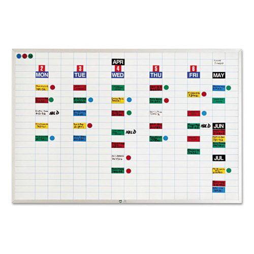 "Magna Visual Economy Planner Board Kit - 36"" x 24"" - Steel, Aluminum - White"