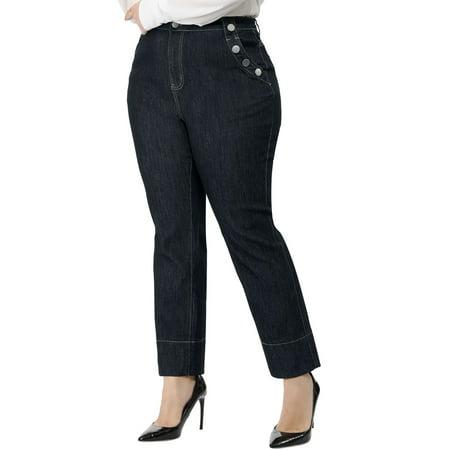 Straight Leg Denim Blue Jeans (Women's Plus Size Career Straight Leg Bootcut Jeans Blue 2X )