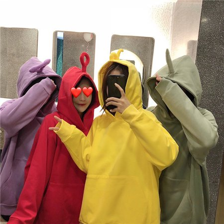 - Women Cute Teletubby Design Sweatshirt Hoodies Loose Pullover Casual All-match Top yellow M