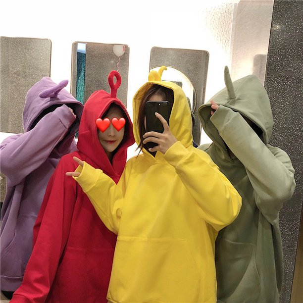Women Cute Teletubby Design Sweatshirt Hoodies Loose Pullover Casual All-match Top purple L