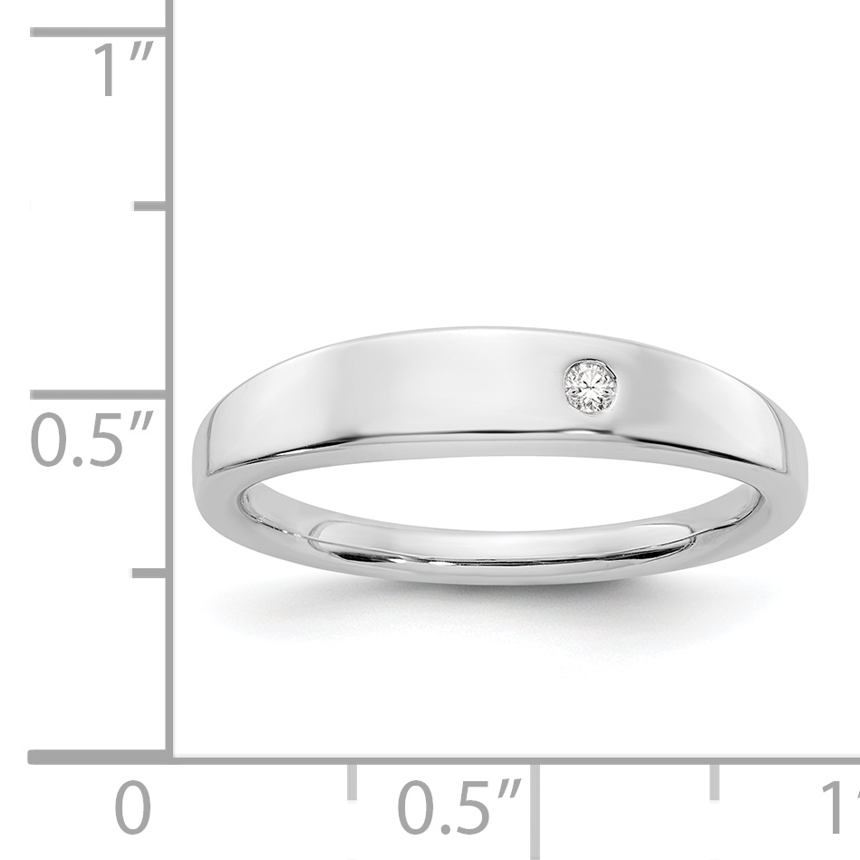 925 Sterling Silver .02ct. Diamond Band Ring Size 6.00 Fine Jewelry Gifts For Women For Her - image 2 de 6