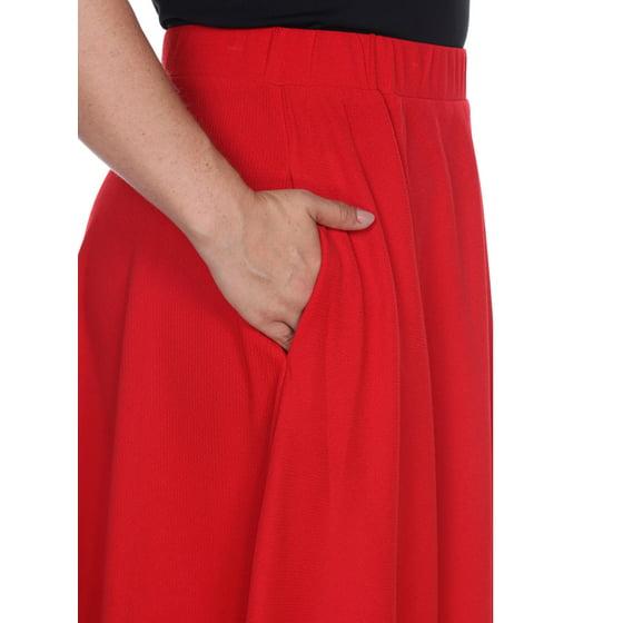 d524cfcb77 White Mark - Women's Plus 'Tasmin' Flare Midi Skirts - Walmart.com