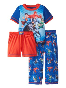 DC Comics Boys 3 Piece Jersey Pajama Set, Justice League, Size: 2T