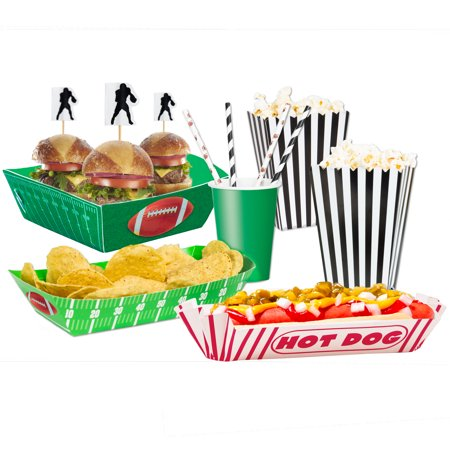 Football Gameday Food Snack Pack 42pc Party Serveware Set, Black White Brown - Black And White Snacks