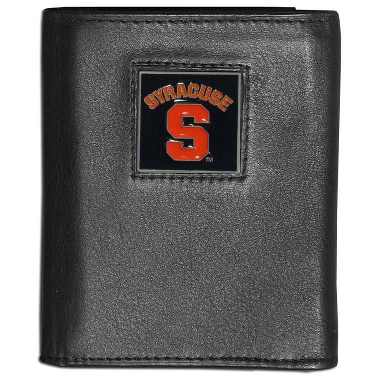 Syracuse Orange Deluxe Leather Tri-fold Wallet Packaged in Gift Box (F)
