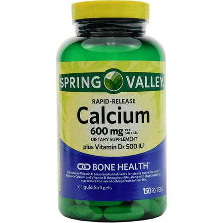 Spring Valley calcium et la vitamine D3 gélules de complément alimentaire, 600 mg, 150 ct