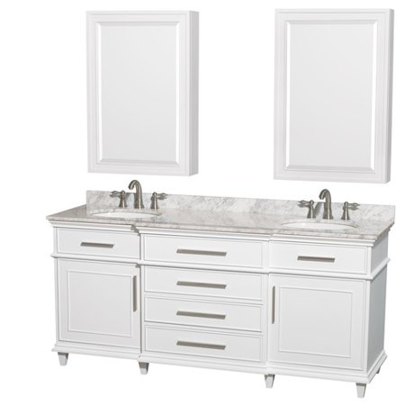 Bathroom Cabinets Countertops - Wyndham Collection Berkeley 72 inch Double Bathroom Vanity in White, White Carrera Marble Countertop, Undermount Round Sinks, 24 inch Medicine Cabinets