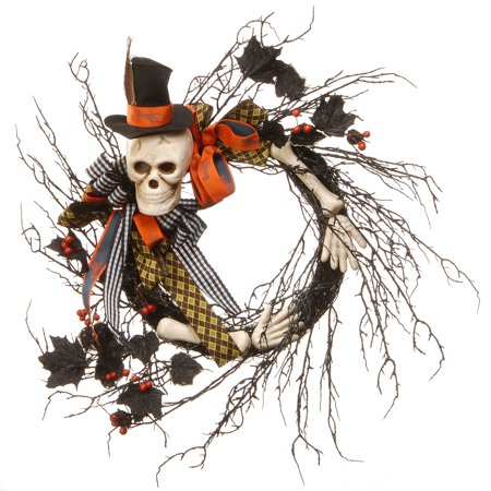 Halloween Ribbon Wreath Pinterest (Skeleton with Necktie Ribbons Halloween Wreath, Black and White)