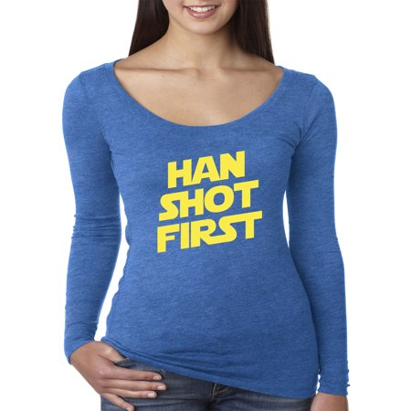 Trendy USA 906 - Women's Long Sleeve T-Shirt Han Shot First Han Solo Greedo Controversy Large Royal Blue