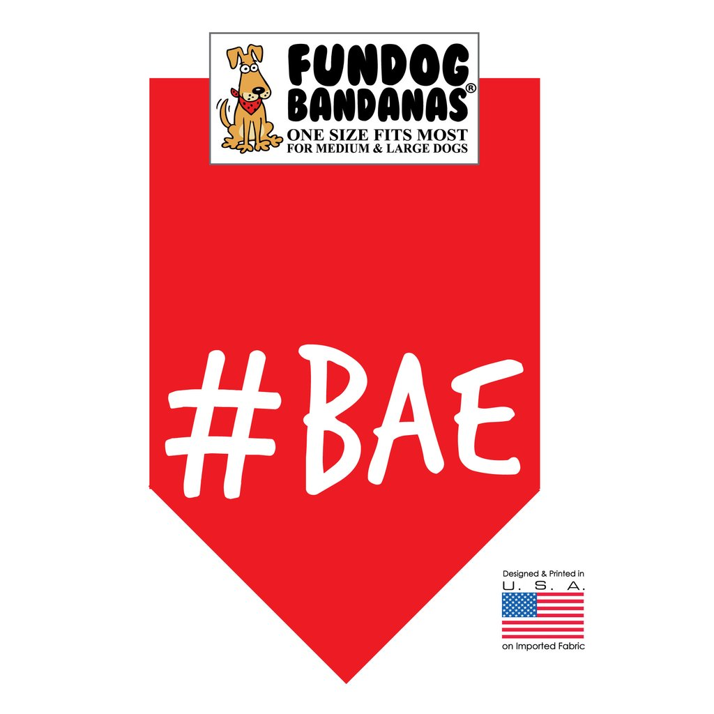 Fun Dog Bandana -#BAE - One Size Fits Most for Medium to Large Dogs, red pet scarf