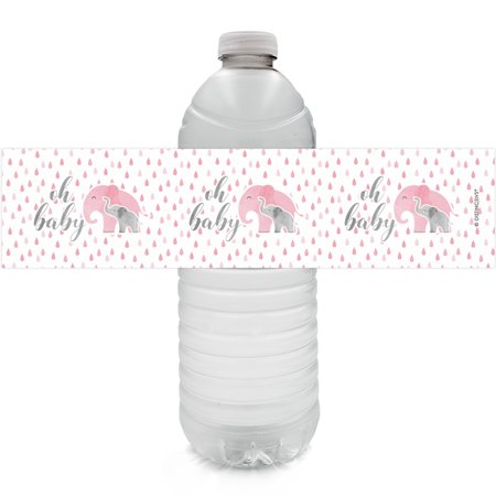 Pink Baby Elephant Baby Shower (Pink Elephant Baby Shower Bottle Labels - 24ct - Girl Baby Shower Favor Decorations - 24 Count Water Bottle)