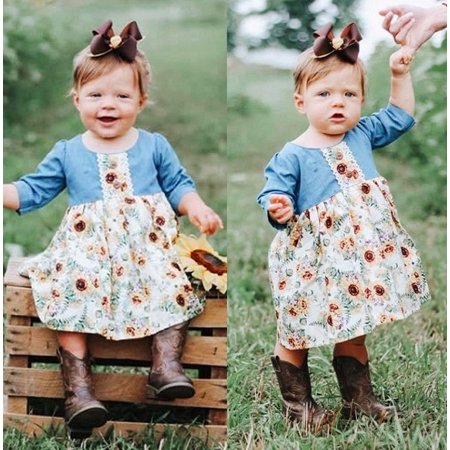 Toddler Infant Kid Baby Girls Long Sleeve Sunflower Autumn Casual Dress Sundress Clothes