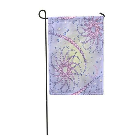 KDAGR Kawaii Cartoon Night Sky Stars Moon Crescents and Pearl Garden Flag Decorative Flag House Banner 12x18 inch