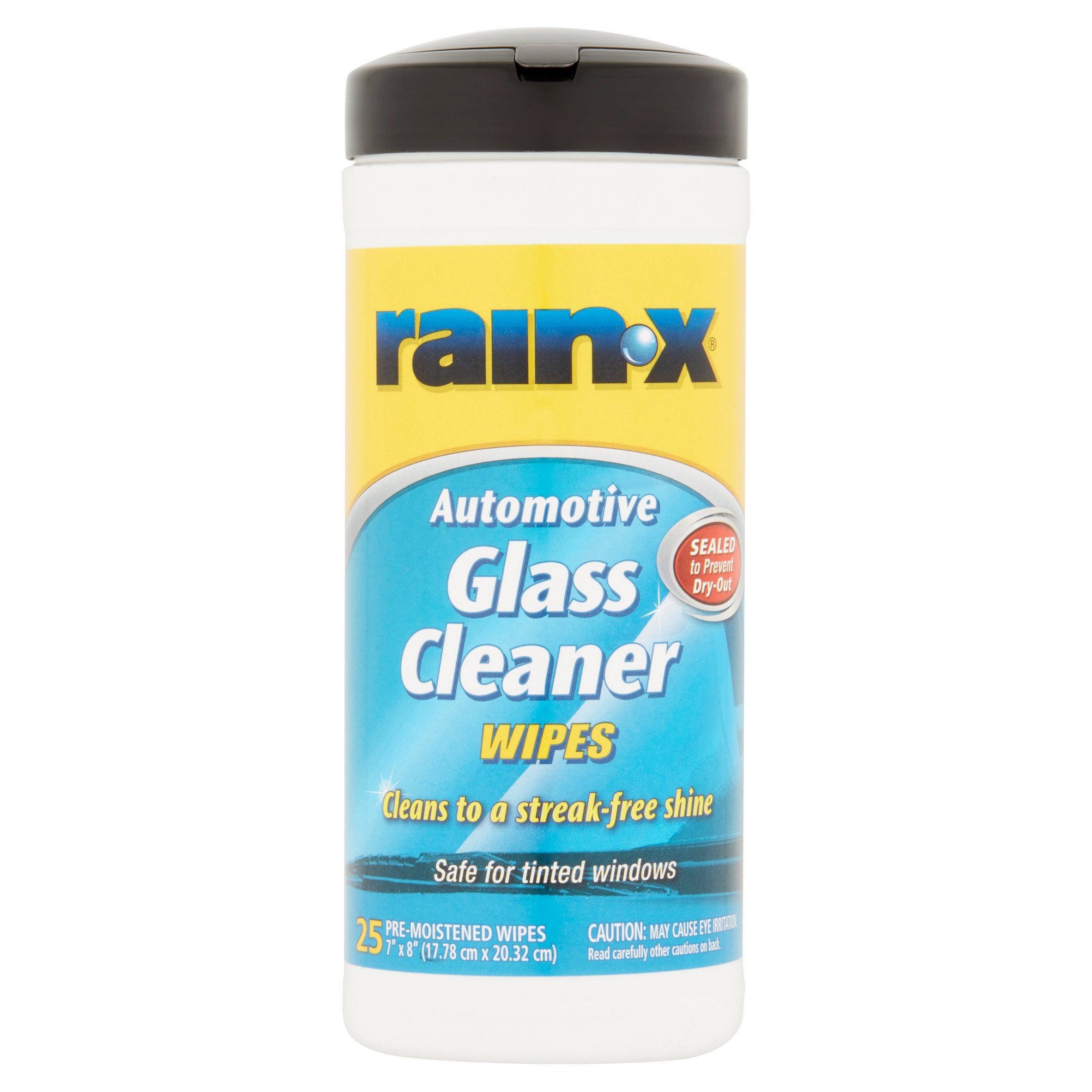 RainX Automotive Glass Cleaner Pre-Moistened Wipes, 25 count