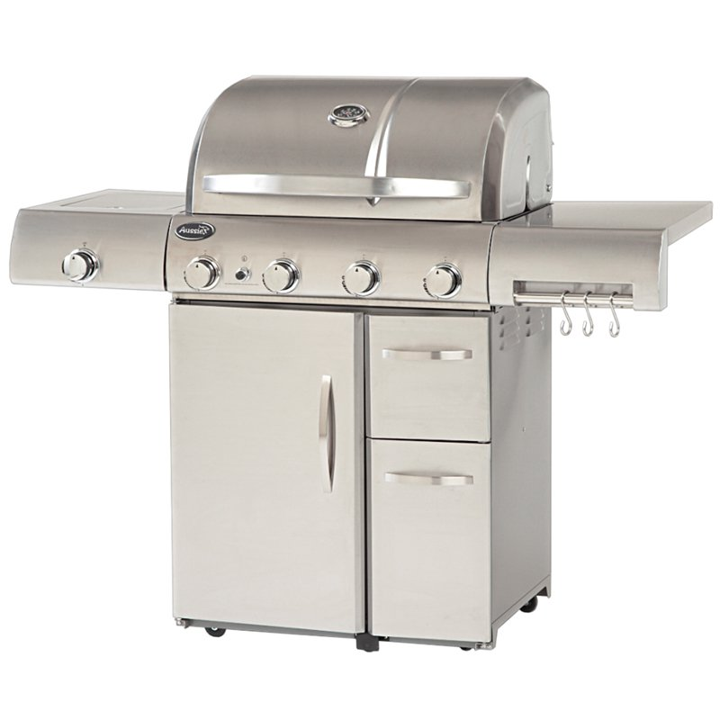 Aussie Stainless Steel 4 Burner Gas Grill with Side Burner by Outdoor Leisure Products Inc