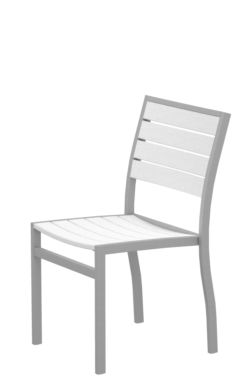 Polywood A100faswh Euro Dining Side Chair In Textured Silver White