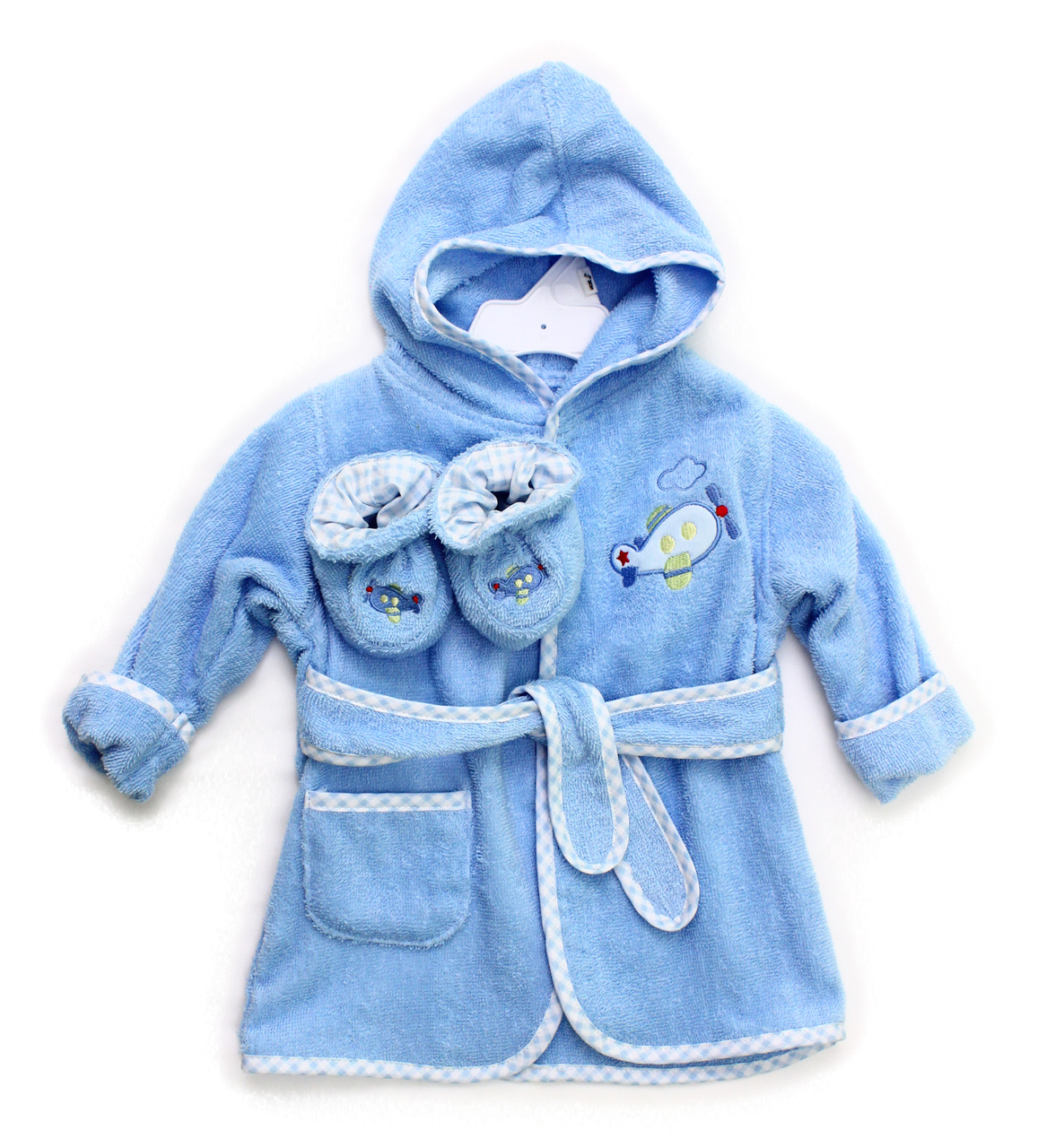 Terry Bathrobe with Booties, Blue Plane