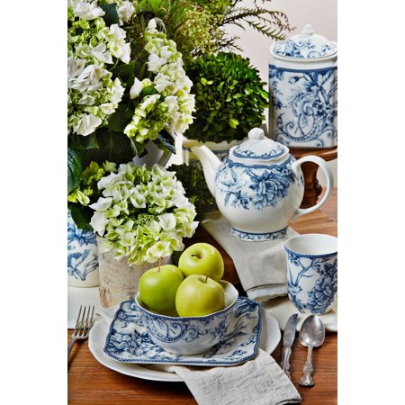222 Fifth : Adelaide Blue 16 Piece Dinnerware Set - Halloween Adelaide