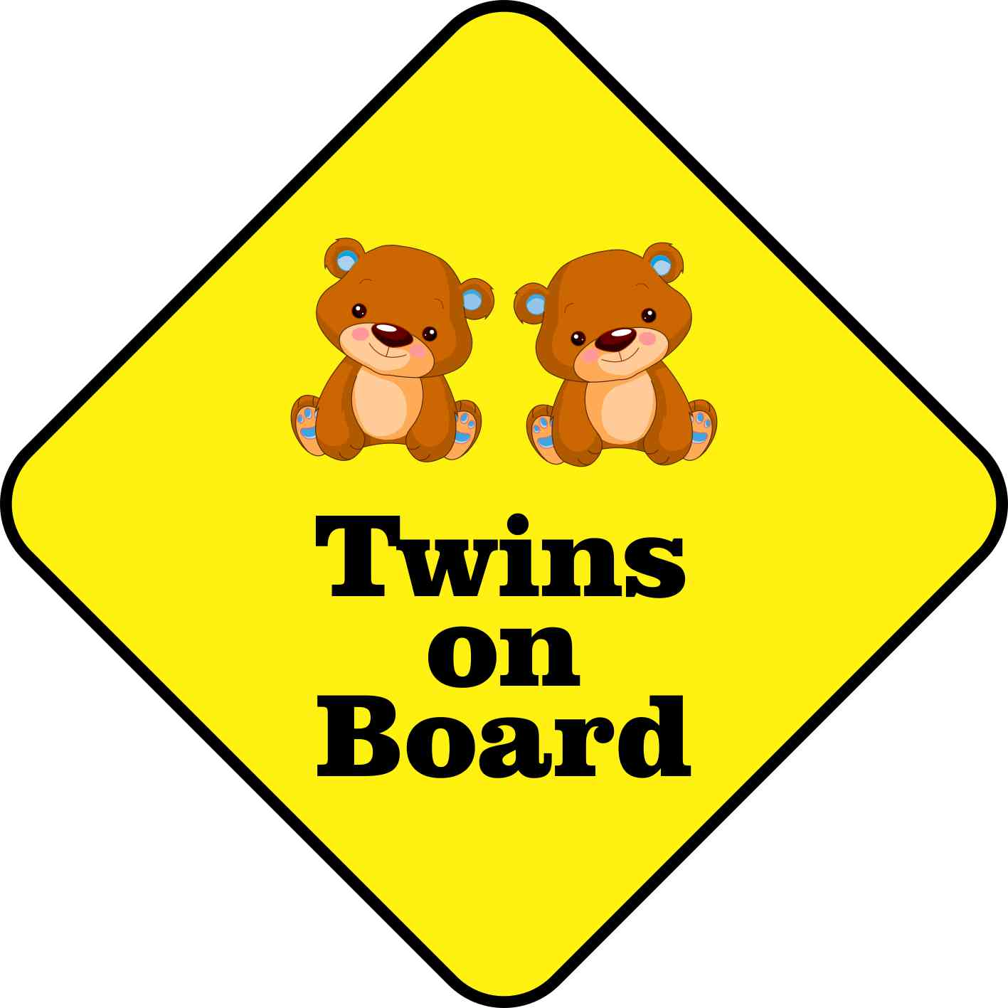 9.25in x 9.25in Boy Twins on Board Magnet Vinyl Vehicle Safety Magnets
