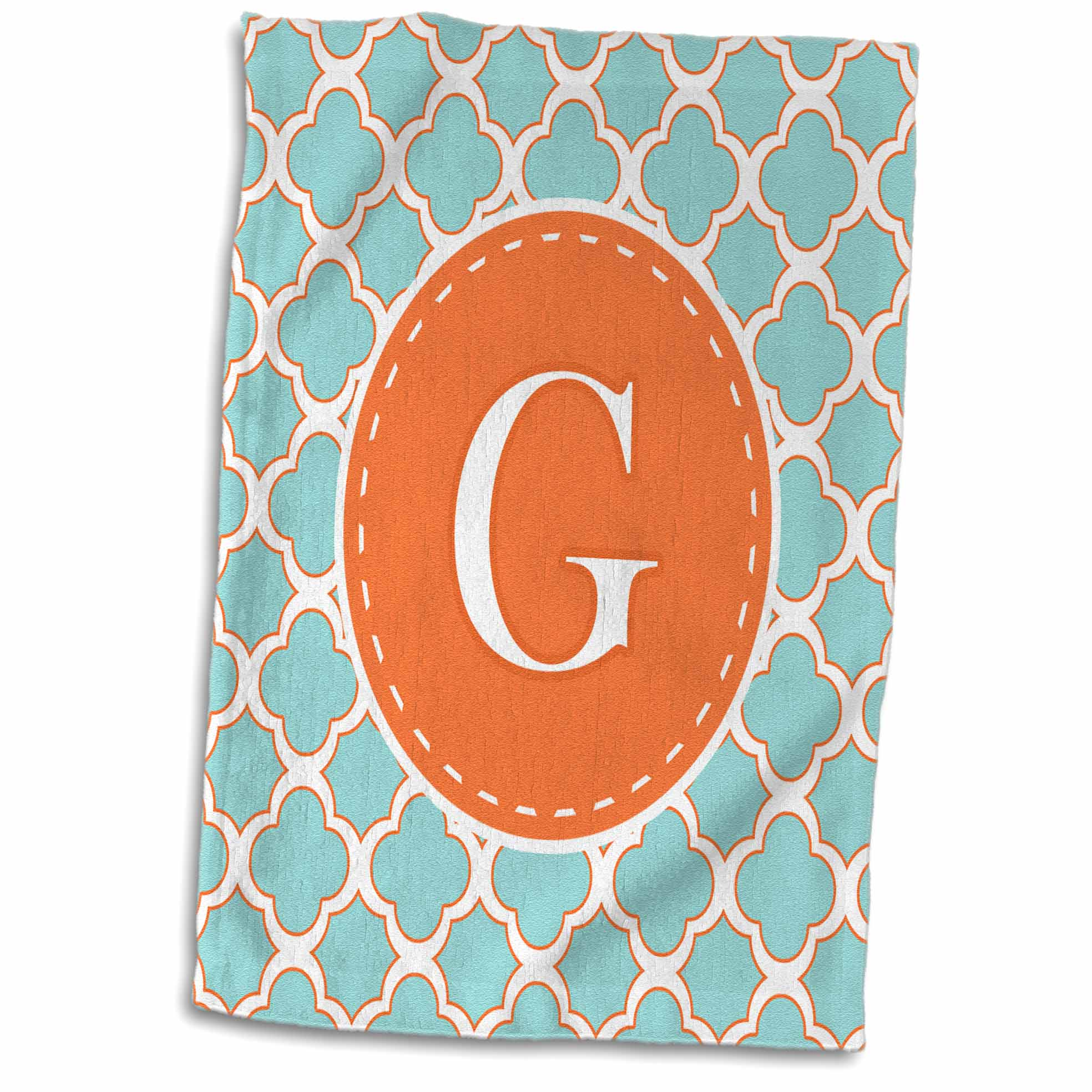 3dRose Letter G Monogram Orange and Blue Quatrefoil Pattern - Towel, 15 by 22-inch