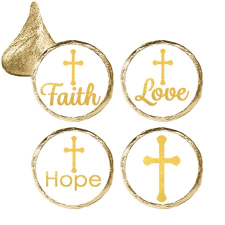 Baptism Decorations Party Stickers, 324ct - Christening Baptism Party Favors, First Communion Party Supplies - 324 Count Stickers - Baptism Decorations