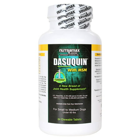 Nutramax Dasuquin with MSM Joint Health Supplement for Small to Medium Dogs, 84 Chewable Tablets Premium Adult Dog Vitamins
