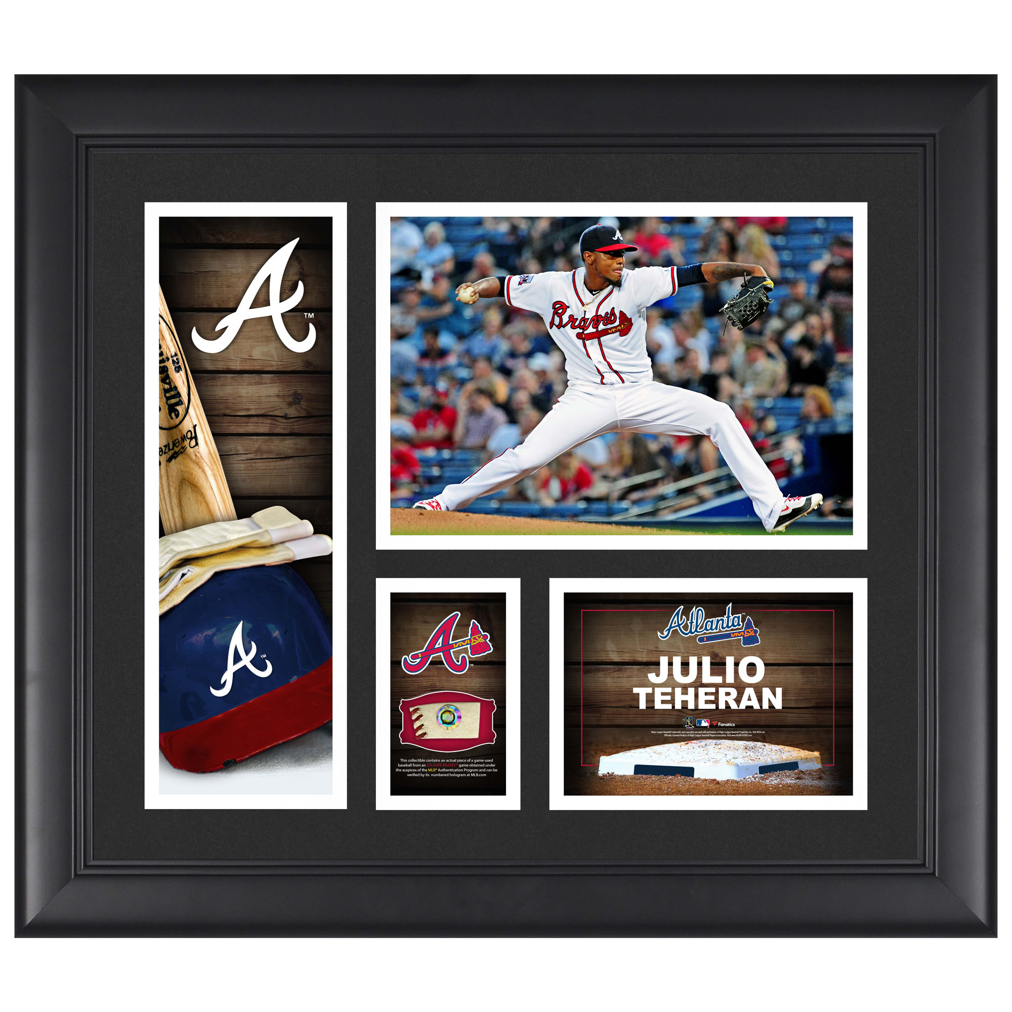 "Julio Teheran Atlanta Braves Fanatics Authentic Framed 15"" x 17"" Player Collage with a Piece of Game-Used Ball - No Size"