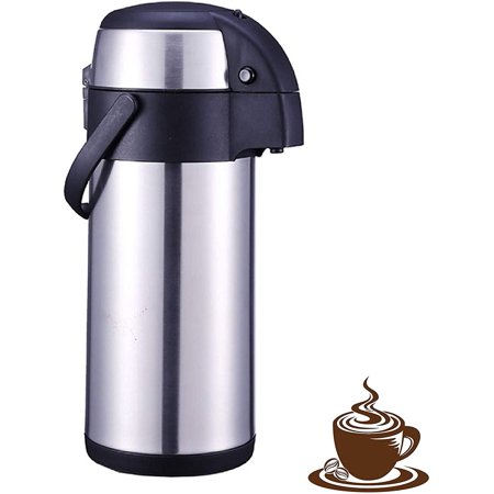 101 Oz (3L) Thermal Coffee Carafe and Coffee Server/Soft Push Button Action/Stainless Steel Insulated Thermos / 12 Hour Heat Retention / 24 Hour Hot & Cold Retention - BPA Free Stainless Coffee Carafe