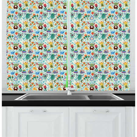 Kids Curtains 2 Panels Set, Adorable Monster Friends with Cuddlesome One-Eyed Creature and a Newborn Baby Boy, Window Drapes for Living Room Bedroom, 55W X 39L Inches, Multicolor, by