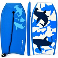 Goplus 41''/37''/33''  Lightweight Super Bodyboard Surfing W/Leash EPS Core Boarding Blue Shark
