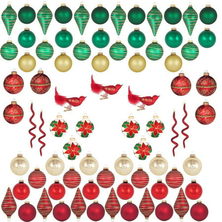 Red Green Gold Traditional Color Glass Christmas Ornament Tree Decorating Kit 66 Count By Christmas By Krebs