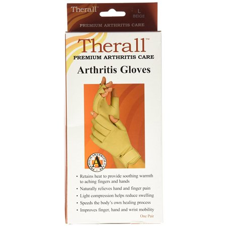 Arthritis Gloves, Beige, Large, Neoprene material retains the body's natural heat to provide soothing warmth and long-lasting pain relief to aching wrists, fingers.., By Therall ()