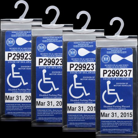 4 PCS Handicap Permit Placard Protective Holder - Disabled Parking Placard Protector Sleeve with Large Hook 4 High Place Card Holder