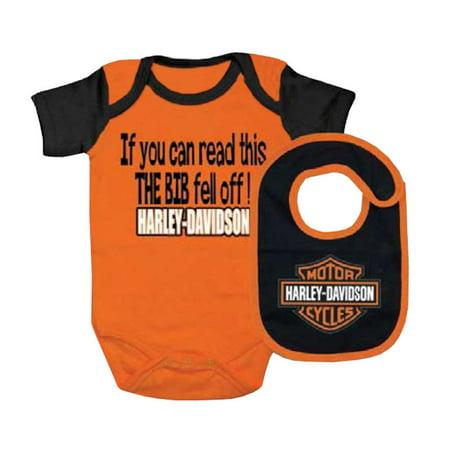 Harley Davidson Baby Boys Interlock Bs Creeper Bib Set Orange