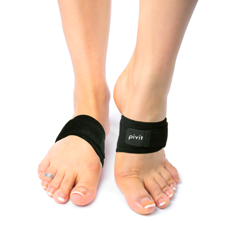 Pivit Arch Support Brace | Pair | Plantar Fasciitis Gel Strap for Men, Woman | Orthotic Compression Support Wrap Aids Foot Pain, High Arches, Flat Feet, Heel Fatigue | Insert for Under Socks and