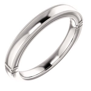 Jewels By Lux 14k White Gold Band for 10x8mm Oval Ring