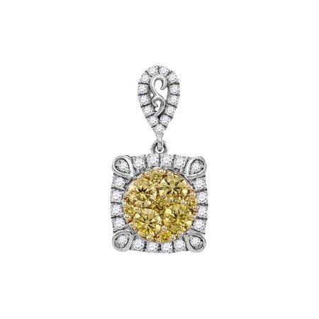 14kt White Gold Womens Round Canary Yellow Diamond Square Cluster Pendant 3/4 Cttw - image 1 of 1