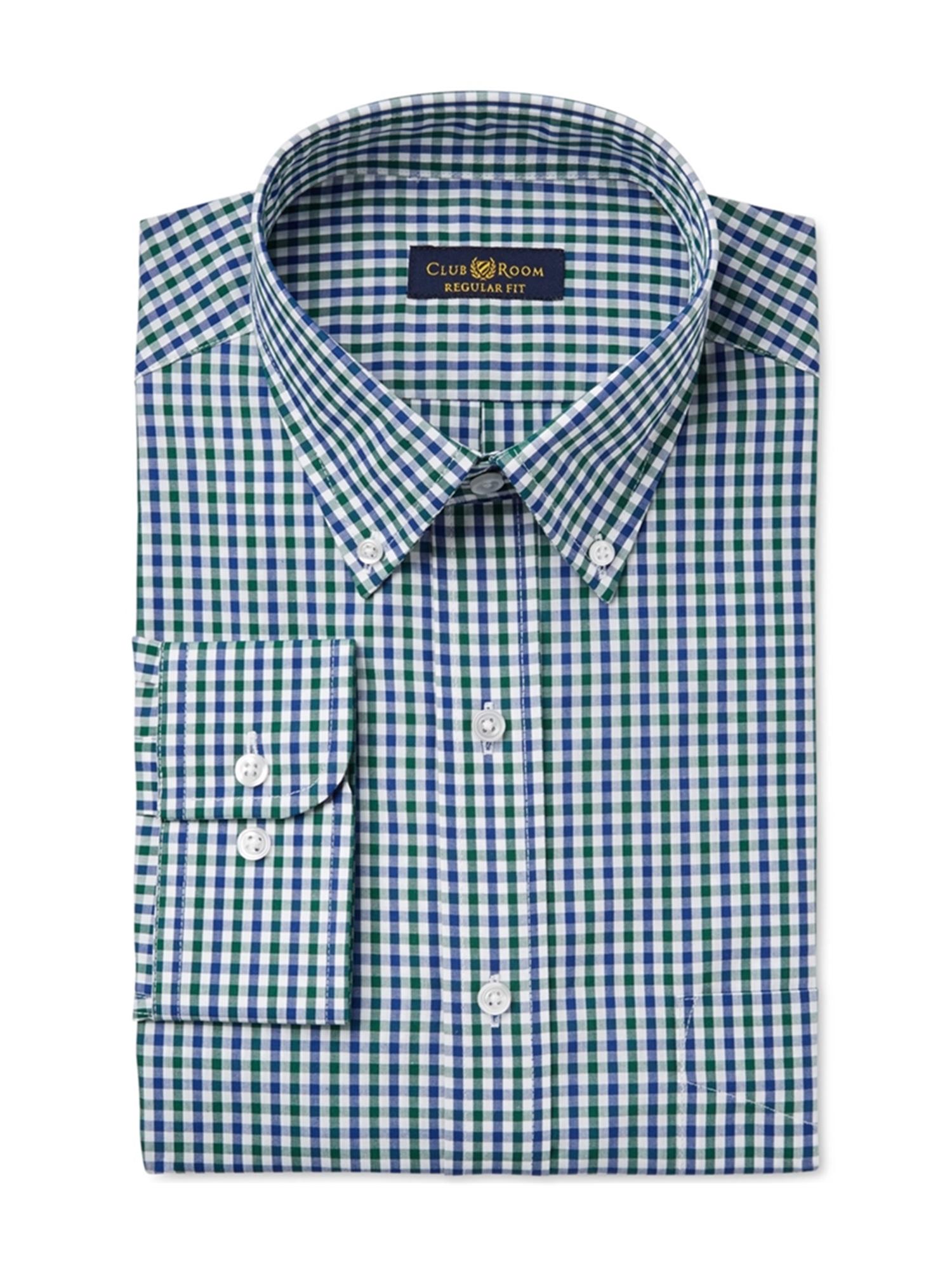 Club Room Mens Gingham Button Up Dress Shirt