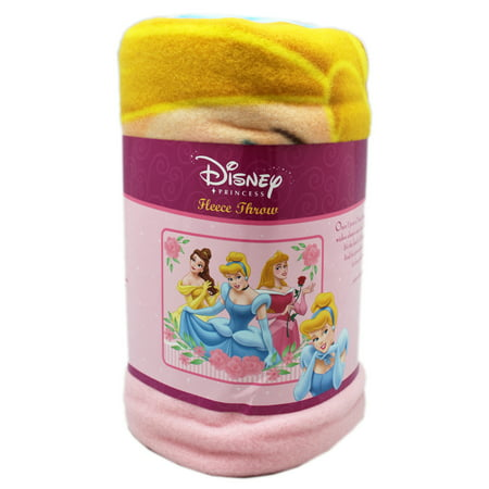 Disney Princess Belle, Cinderella, and Aurora Pink Floral Fleece Throw Blanket Disney Princess Fleece Throw