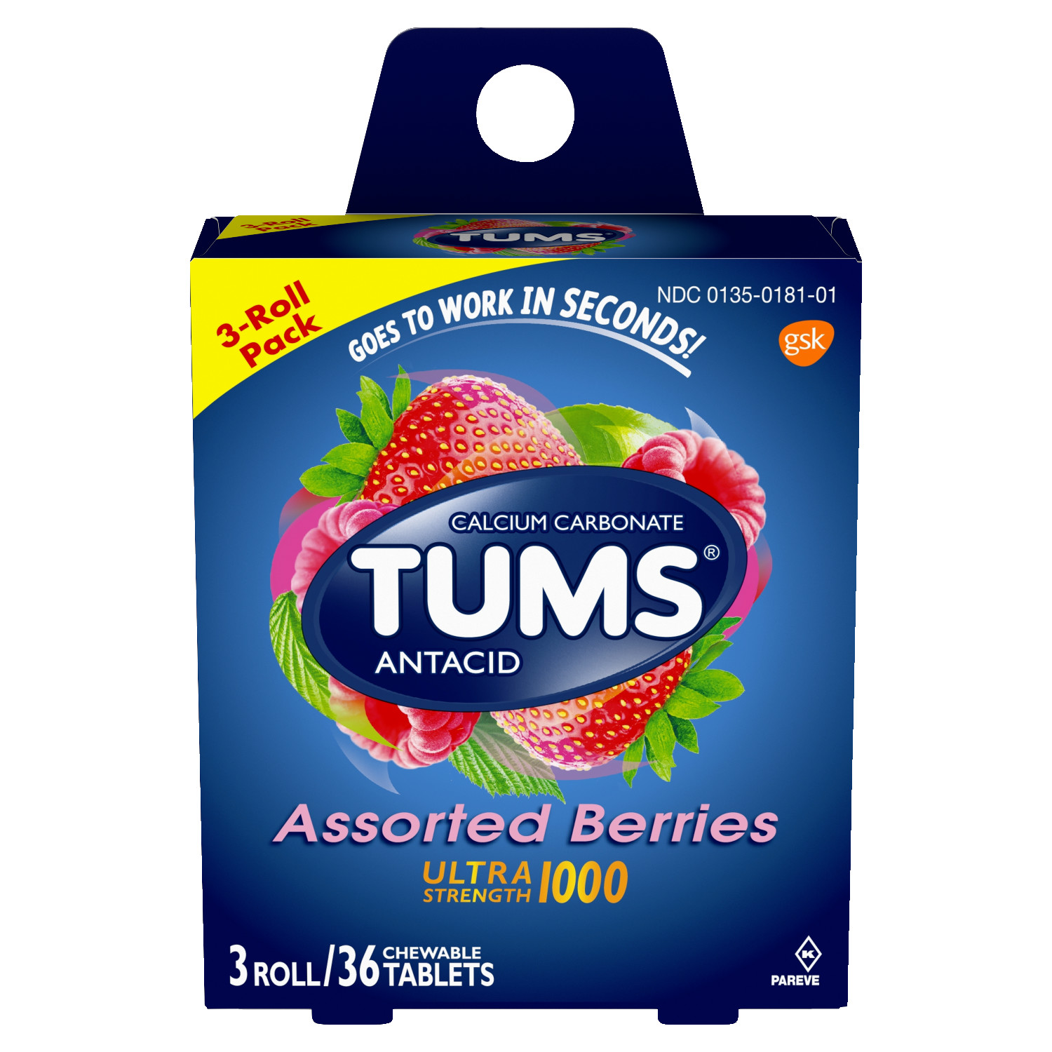 TUMS Antacid Chewable Tablets, Ultra Strength for Heartburn Relief, Assorted Berries, 3 rolls of 12ct