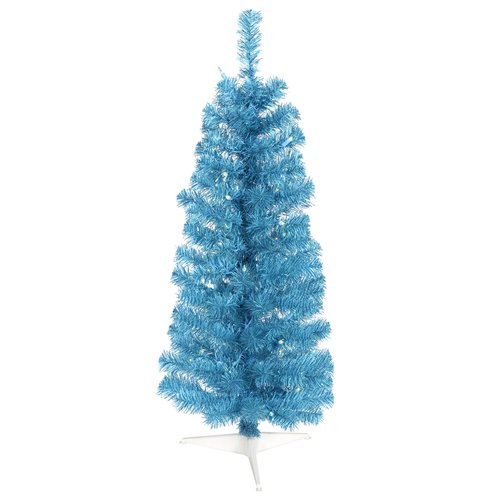 Vickerman 10' Sparkling Sky Blue Artificial Pencil Christmas Tree with Blue Lights
