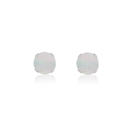 Round 5mm 10k White Gold Genuine Opal Stud Earrings, June Birthstone, (0.68 - 10k Opal Earrings