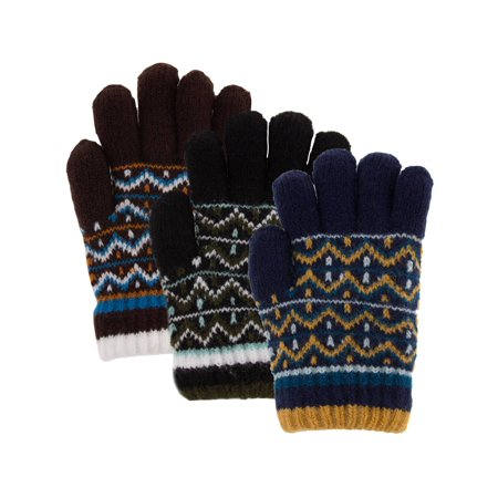 Classic Fashion (3 Pairs) Boys Winter Gloves, Acrylic Kids Gloves With Soft Warm Knitted Sherpa Fleece Lining